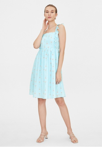 Pomelo blue Frill Shoulder Square Neck Dress - Blue 3D350AAE6648DBGS_1