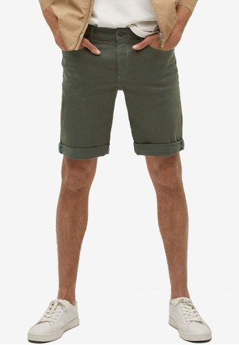 MANGO Man green Stretch Cotton Denim Shorts BF46DAA0A58BEBGS_1