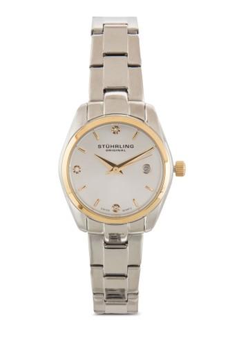 Stuhrling Original 414L.03 Cl尖沙咀 espritassic Ascot 晶鑽不銹鋼女裝鍊錶, 錶類, 飾品配件