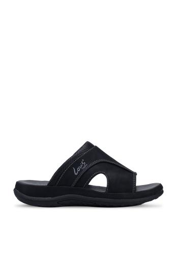 Louis Cuppers black Faux Leather Stitched Sandals DE2EBSHB6390D3GS_1