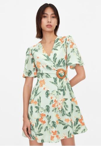 Pomelo green Orchid Print Wood Buckle Dress - Green 9B518AA19C7949GS_1