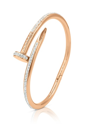 SO SEOUL gold Nail It Austrian Crystal Rose Gold Middle Hinged Bangle 95D37ACF30111FGS_1