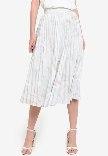 ZALORA WORK 白色 Pleated Midi Skirt E4EA0AAB8CE240GS_1