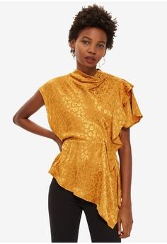 3b8d2524f3a9d7 TOPSHOP yellow Petite Jacquard Drape Blouse 26C48AA05085DCGS 1