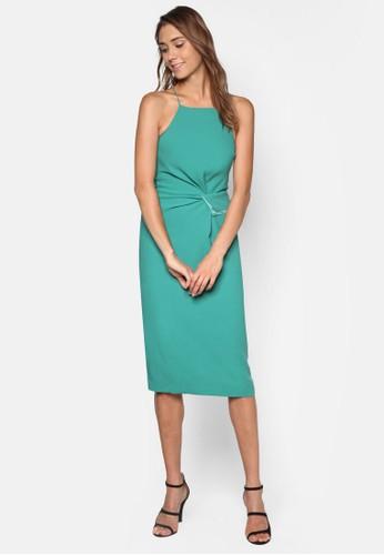 削肩細帶扭zalora 評價結褶飾連身裙, 服飾, 洋裝