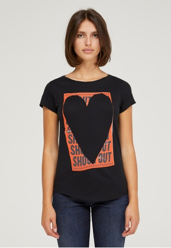 Sisley black Printed T-shirt 8F2D8AA60A5440GS_1