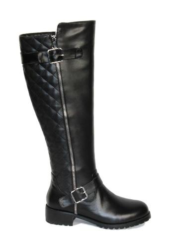 Sunnydaysweety 黑色 韓國最新格紋拉鏈真皮黑色長靴RA11260 SU395SH09Y1GTW_1