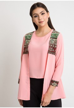 harga duapola Tribal Wedges Cardi Crepe Blouse Zalora.co.id
