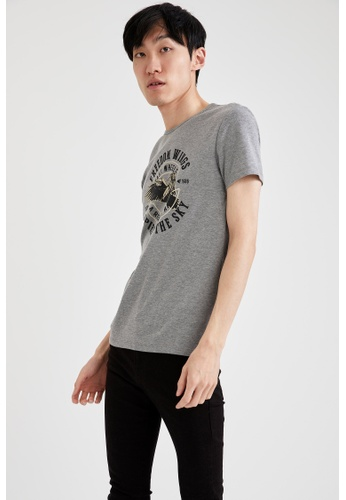 DeFacto grey Short Sleeve Round Neck Printed T-Shirt B47A7AADC8FB5EGS_1
