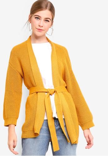 Something Borrowed yellow Longline Cardigan With Self Tie 5FA0CAA00C7676GS_1