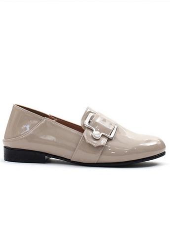 Crystal Korea Fashion beige Korean-made Wild Enamel Glossy Flat Shoes FA747SH00AB824GS_1