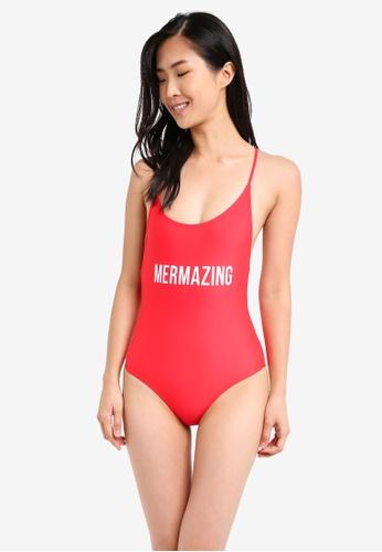 South Beach red Mermazing Red Hi Leg Swimsuit SO840US0SS65MY_1