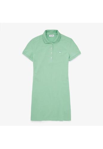 Lacoste green Women's Stretch Cotton Pique Polo Dress 1249DAA0946A8CGS_1