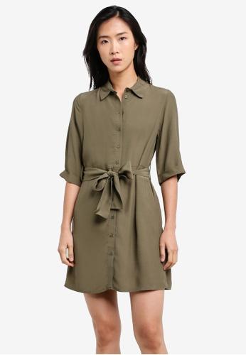 TOPSHOP green Petite Belt Mini Shirt Dress TO412AA0S2ZSMY_1