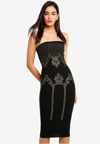 MISSGUIDED 黑色 鑽飾平口洋裝 690A9AA90D2597GS_1