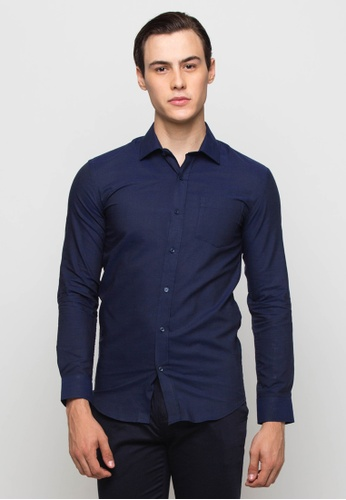 The Executive navy Dark Blue Long Sleeve Shirt TH044AA0SEUDMY_1