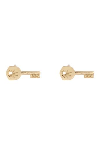 Wanderlust + Co gold Crescent Key Baby Stud Gold Earrings 1072FAC4226E06GS_1