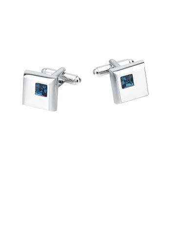 Glamorousky blue Fashion and Elegant Geometric Square Blue Cubic Zirconia Cufflinks B9239ACED102FFGS_1