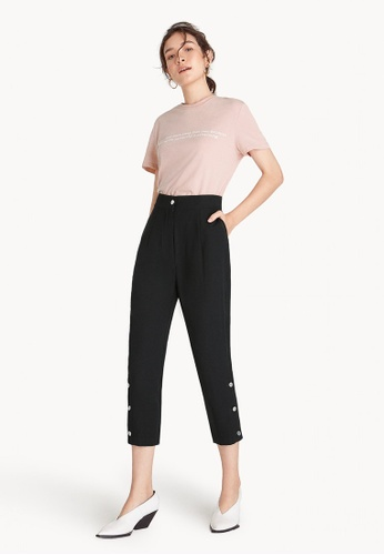 Pomelo black Cropped High Waist Button Slit Pants 053B7AA66DC684GS_1