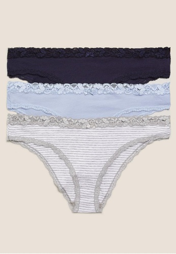 MARKS & SPENCER grey M&S 3Pk Cotton Low Rise Brazilian Knickers D79B1US183B5C0GS_1