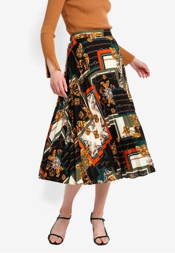 aff24682366b16 Dorothy Perkins black Black Scarf Print Pleated Skirt 8CF42AA1CF71E4GS_1