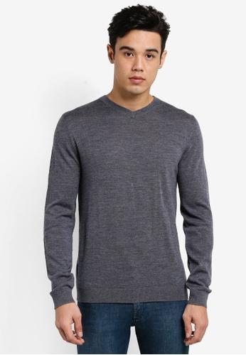 MANGO Man grey Openwork Wool-Blend Sweater MA449AA87BRWMY_1