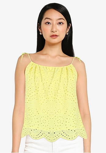 ZALORA BASICS yellow Scallop Edge Eyelet Top 6AF29AAA39F010GS_1