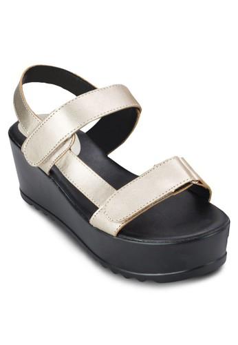 魔術氈踝帶厚底zalora退貨涼鞋, 女鞋, 鞋