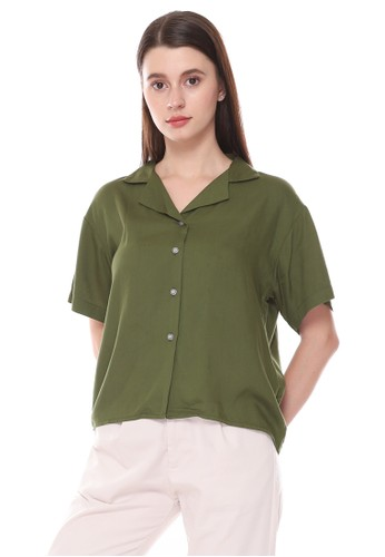 Sparse Label green SPARSE Women's Basic Shirt in Olive 83C13AA1EEB540GS_1