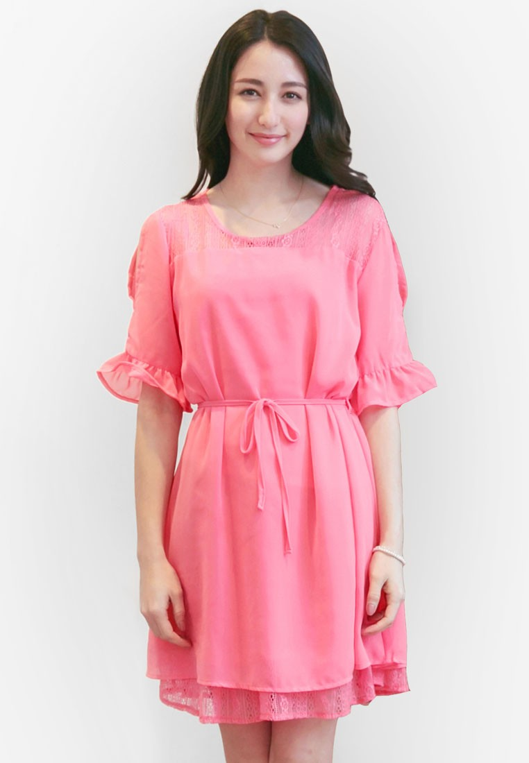 Lacey Dress with Open Shoulders