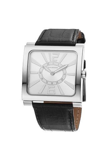 EGLANTINE silver EGLANTINE® Paris Square Unisex Steel Quartz Watch on Black Leather Strap 8F0ECAC03F01B0GS_1