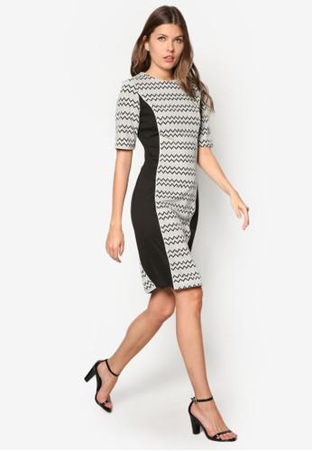 Mono Zig-Zag Bodycon Dress, 服飾,zalora 男鞋 評價 正式洋裝