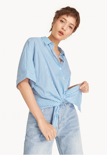 d95412eb992649 Buy Pomelo Striped Front Tie Cropped Shirt - Blue Online on ZALORA ...