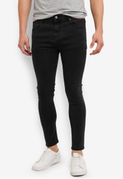 ZALORA black Skinny Fit Jeans With Zigzag Stitch Detail 3E386ZZBAD47F0GS_1