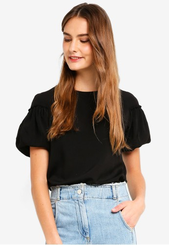 French Connection black Crepe Light Puff Sleeve Top 7A70BAA4A03428GS_1