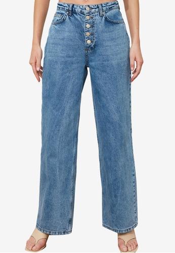 Trendyol blue Denim Wash Button High Waist Jeans A2D15AA94C7403GS_1