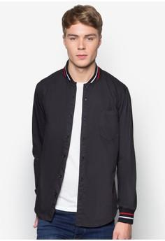 Accent Rib Collar Long Sleeve Shirt