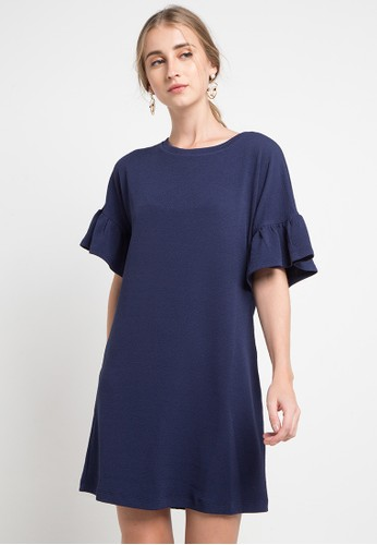 Korz navy Textured Knit Ruffles Sleeve Dress DE8A6AAE59AD37GS_1