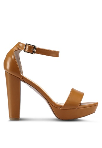 Something Borrowed brown Block Heels with Ankle Strap C4670SH22BAC2CGS_1