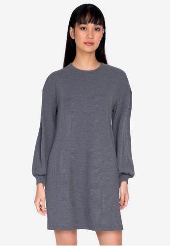 ZALORA BASICS grey Rib Sweater Dress AD202AA3B007A5GS_1