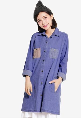 Tokichoi blue Denim Shirt Dress with Stripe Pocket C8337AAE0E38BBGS_1