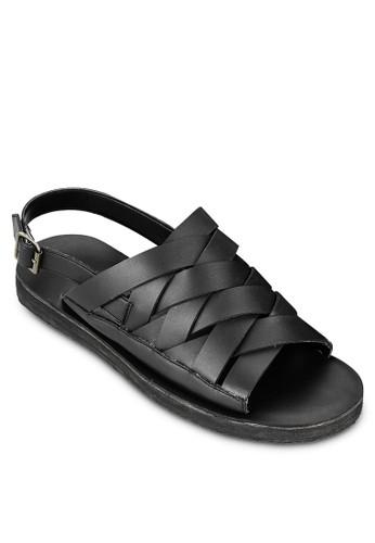 編織仿皮繞踝zalora 鞋評價涼鞋, 鞋, 拖鞋