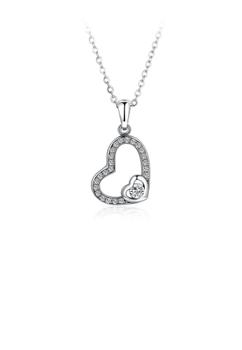 Glamorousky white 925 Sterling Silver Simple Elegant Romantic Heart Shape Pendant Necklace with Cubic Zircon Necklace with Cubic Zircon EDBFAAC9BF11C1GS_1