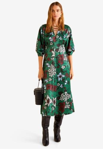 Mango green Floral Print Dress ED038AAF347D46GS_1