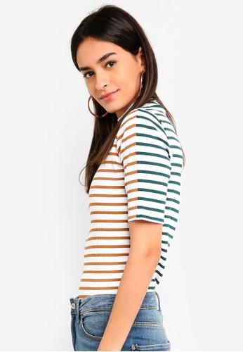 ESPRIT green Stripe Ribbed T-Shirt B7C85AAA6AA9EFGS_1