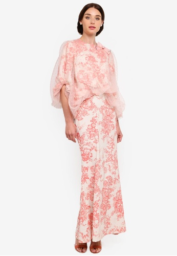 Isabella Puffy Lace Top Kurung from Rizalman for Zalora in white and Pink