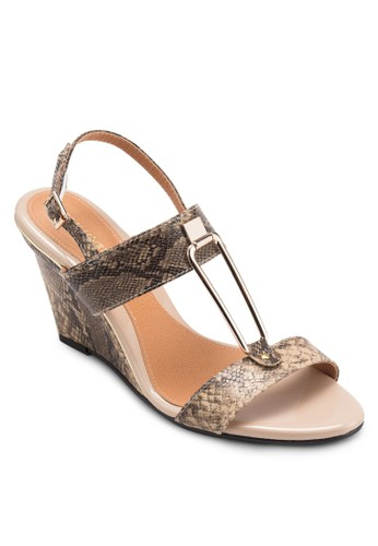 LIZZIE 金飾蛇紋繞踝楔形涼鞋, 女鞋esprit taiwan, 楔形涼鞋