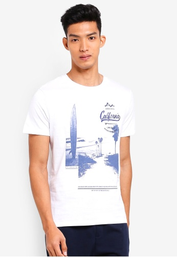 Burton Menswear London white White California Print With Embroidery T-Shirt D6657AAEC7DEB4GS_1