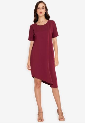ZALORA WORK red Asymmetric Hem Dress ACCB8AA55F3448GS_1
