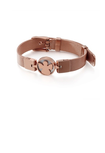 Glamorousky silver Fashion and Elegant Plated Rose Gold Geometric Round Angel Mesh Belt 316L Stainless Steel Bracelet 2D9DEAC472B462GS_1